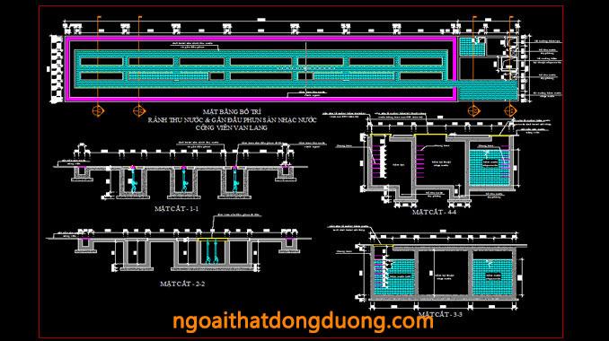 Chi tiết rãnh thu nước gắn các vòi phun sàn nhạc nước công viên Văn Lang - Bản vẽ thi công sàn nhạc nước