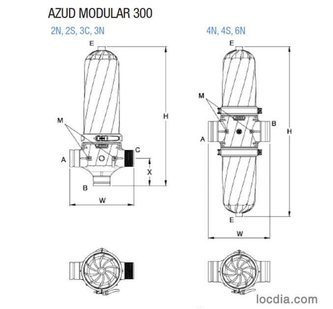 Thiết bị lọc nước tưới nhỏ giọt-azud modular 300
